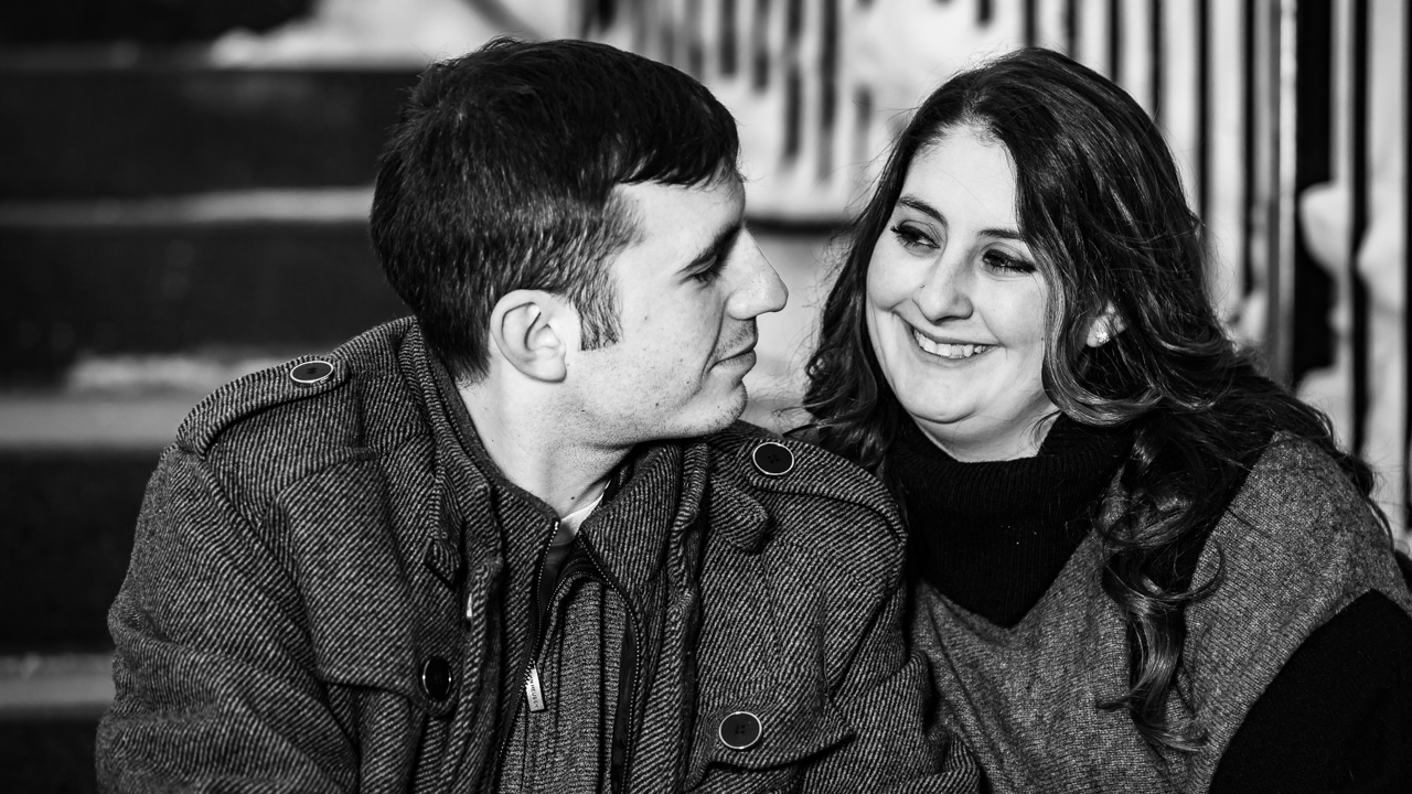 Snowy Winter Engagement Photography Samantha & Andrew (Black & White) | Fort Kent, Maine