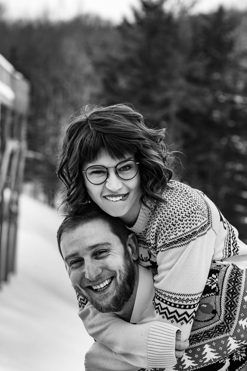 Intimate maine engaement couples session winter mouse island creatives photography black white