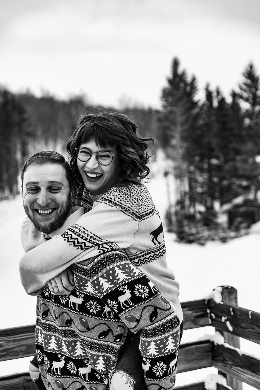 Maine winter couples portaits mouse island photogrpahy engaement session black white